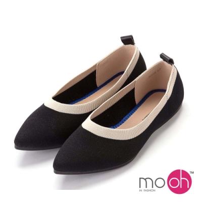 mo.oh-針織舒適柔軟平底尖頭娃娃鞋-黑白色