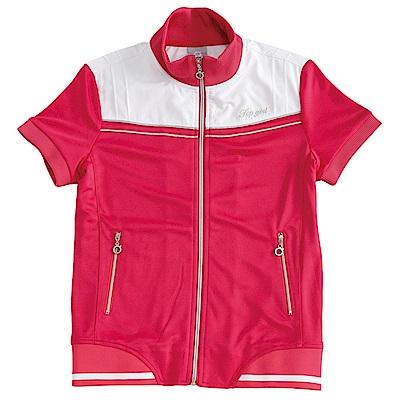 【TOP GIRL】針織+平織短袖外套-俏桃紅