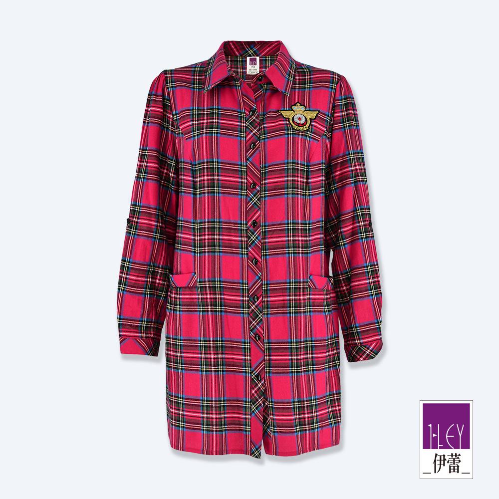 ILEY伊蕾 學院風貼布繡格紋長版上衣(紅) @ Y!購物