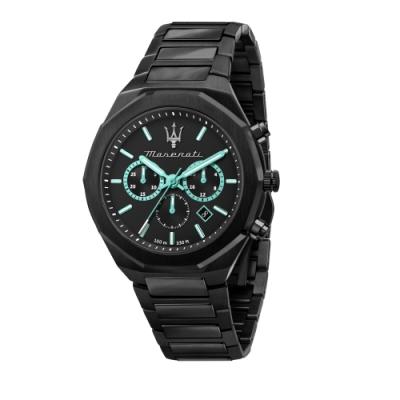 MASERATI 瑪莎拉蒂 AQUA STILE 海洋水色超現代黑鋼腕錶45mm(R8873644001)