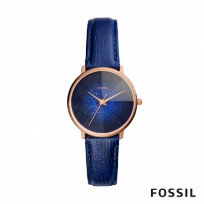FOSSIL GALAXY 稜彩星系皮革女錶-午夜藍 33MM ES4729