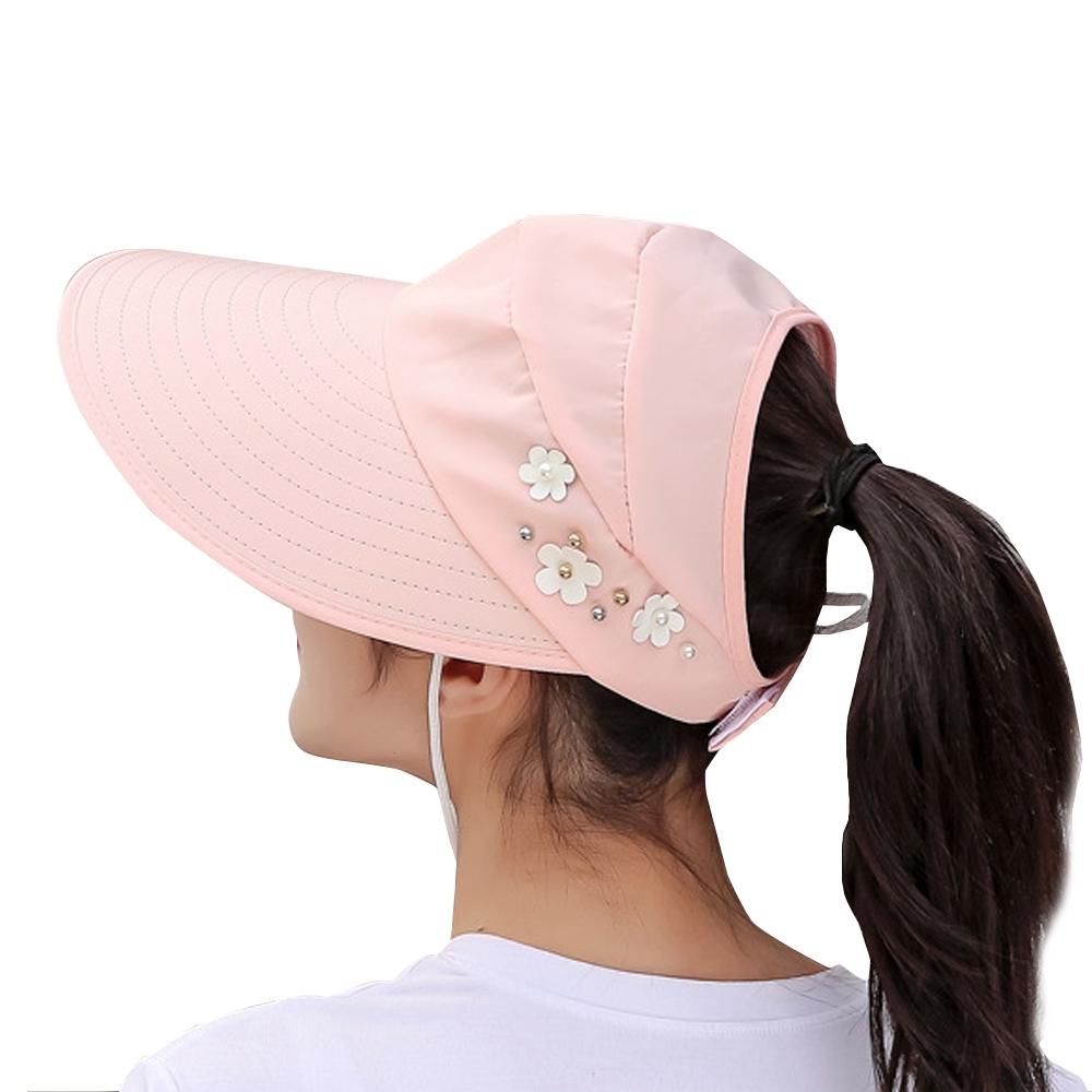 Redberry 縷空海灘帽 透氣空頂防曬帽 頭圍魔鬼氈調整 有花款9色系