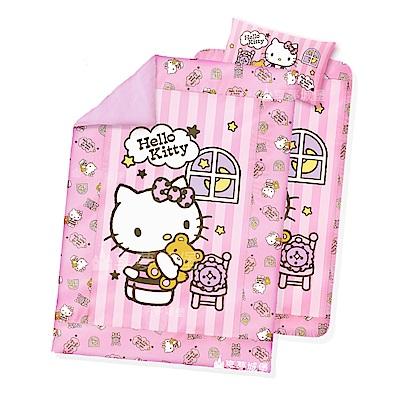 享夢城堡 單人床包兩用被套三件式組-HELLO KITTY 晚安物語-粉