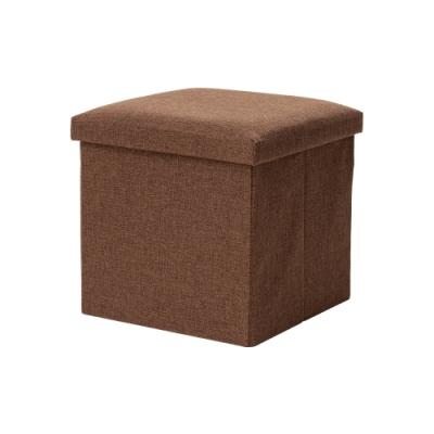 樂嫚妮 棉麻折疊收納椅凳/穿鞋凳/收納箱-55L-咖-38X38X38cm