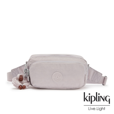 Kipling 優雅煙灰粉雙層隨身腰包-HOPE