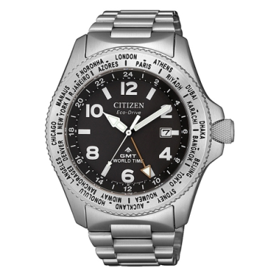 CITIZEN  PROMASTER光動能移動城市時尚腕錶-銀X黑