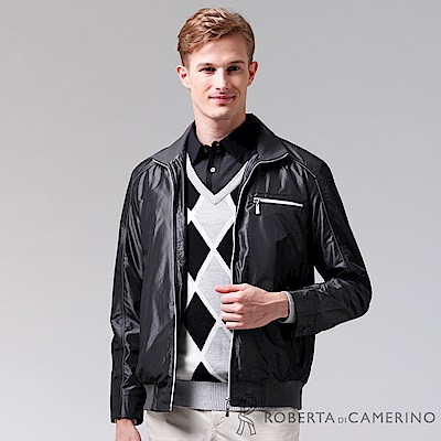 ROBERTA諾貝達 進口素材 禦寒必備 內刷毛夾克外套 黑色