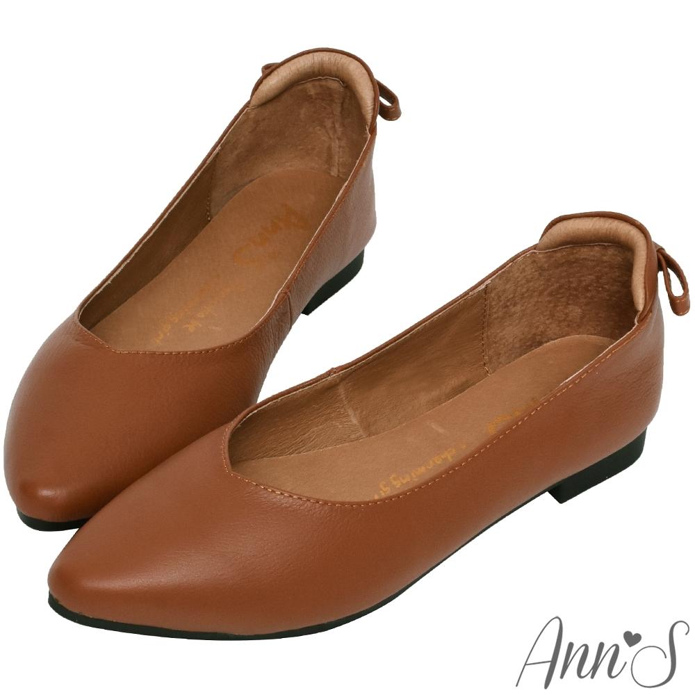 Ann'S再讓我睡一下就好-後跟小蝴蝶結真皮平底鞋-咖