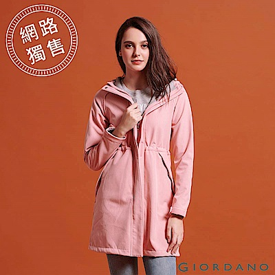 GIORDANO 女裝搖粒絨可拆帽長版防風外套-07 花紗薄紗粉紅