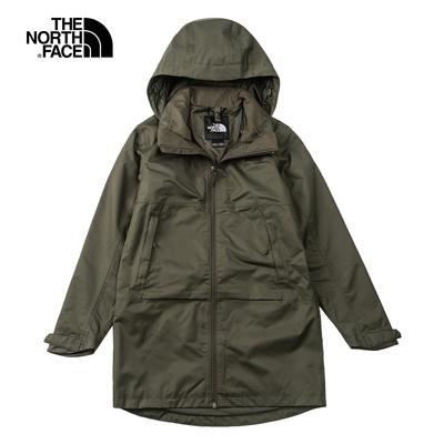 The North Face北面女款深綠色防水透氣連帽衝鋒衣|5AY321L