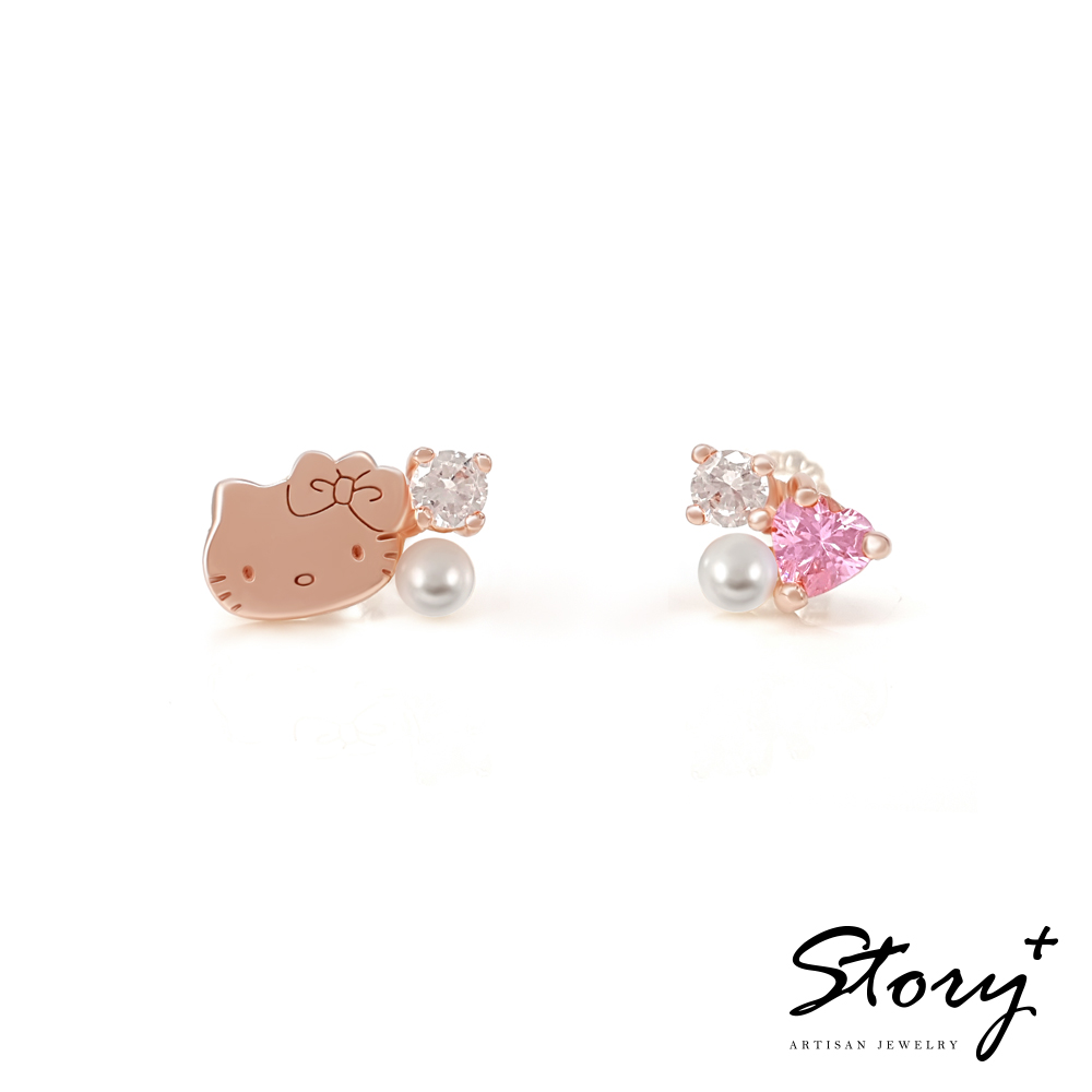 STORY故事銀飾-PinkHolic 閃亮粉紅時代耳環-HelloKitty款
