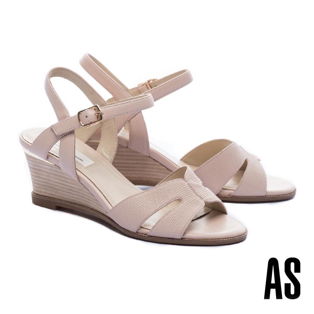 涼鞋 AS 簡約氣質異材質繫帶楔型高跟涼鞋-粉