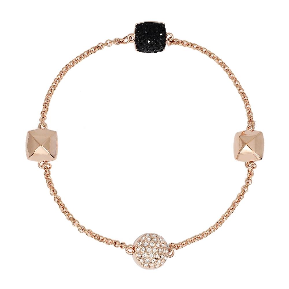【福利品】SWAROVSKI 施華洛世奇 Remix方形黑色水晶玫瑰金磁扣式手鍊手環