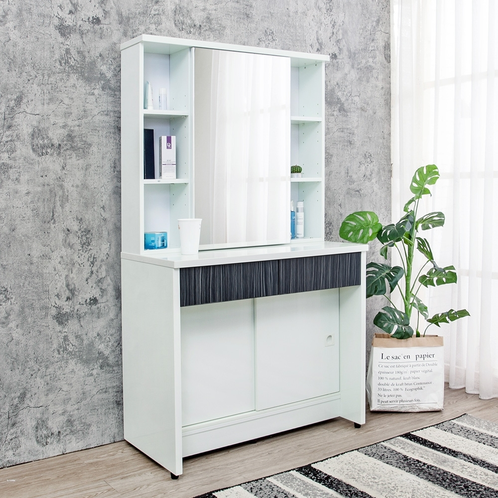 Birdie南亞塑鋼-2.9尺塑鋼化妝桌/鏡台/梳妝台(鐵刀木色)-86x45x156cm