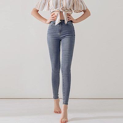 AIR SPACE 水洗丹寧軟料顯瘦窄管褲(藍)