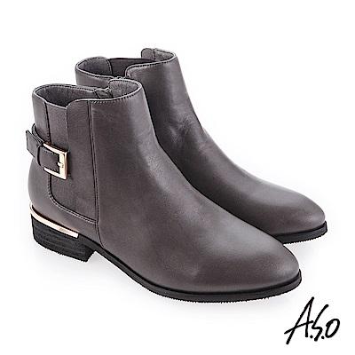 A.S.O 質感嚴選 輕鬆穿脫真皮美靴 灰