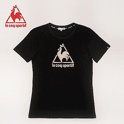 le coq sportif 法國公雞牌經典印花吸排運動圓領短袖T恤 女-黑