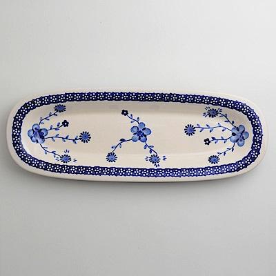 波蘭陶 歐式青花系列 長方形餐盤 13X37cm 波蘭手工製