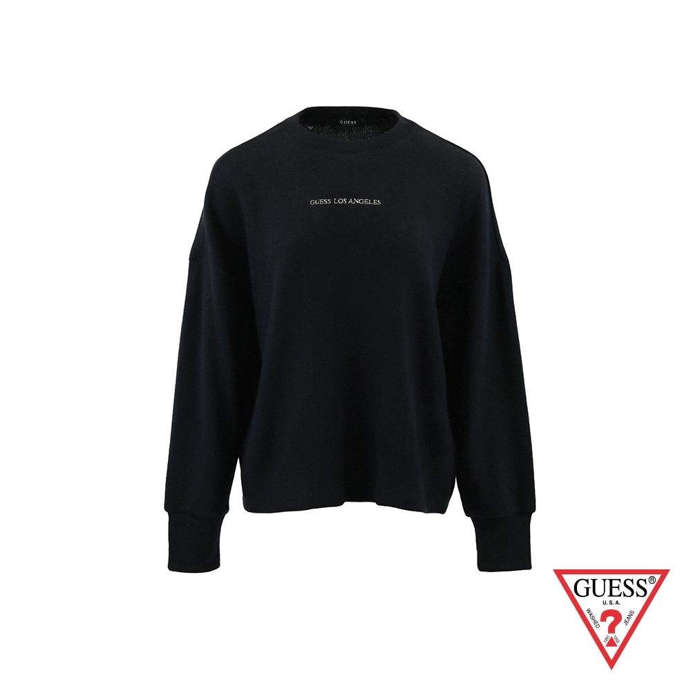 GUESS-女裝-文字刺繡純色絨毛長袖上衣-黑 原價2990