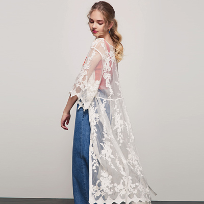 AIR SPACE 休閒刺繡紗面開襟罩衫(白)