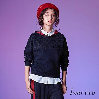 beartwo 假兩件格紋帽大學T(2色)