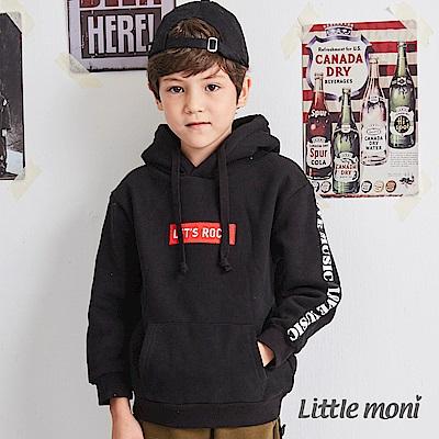 Little moni內刷毛連帽刺繡上衣(共2色)