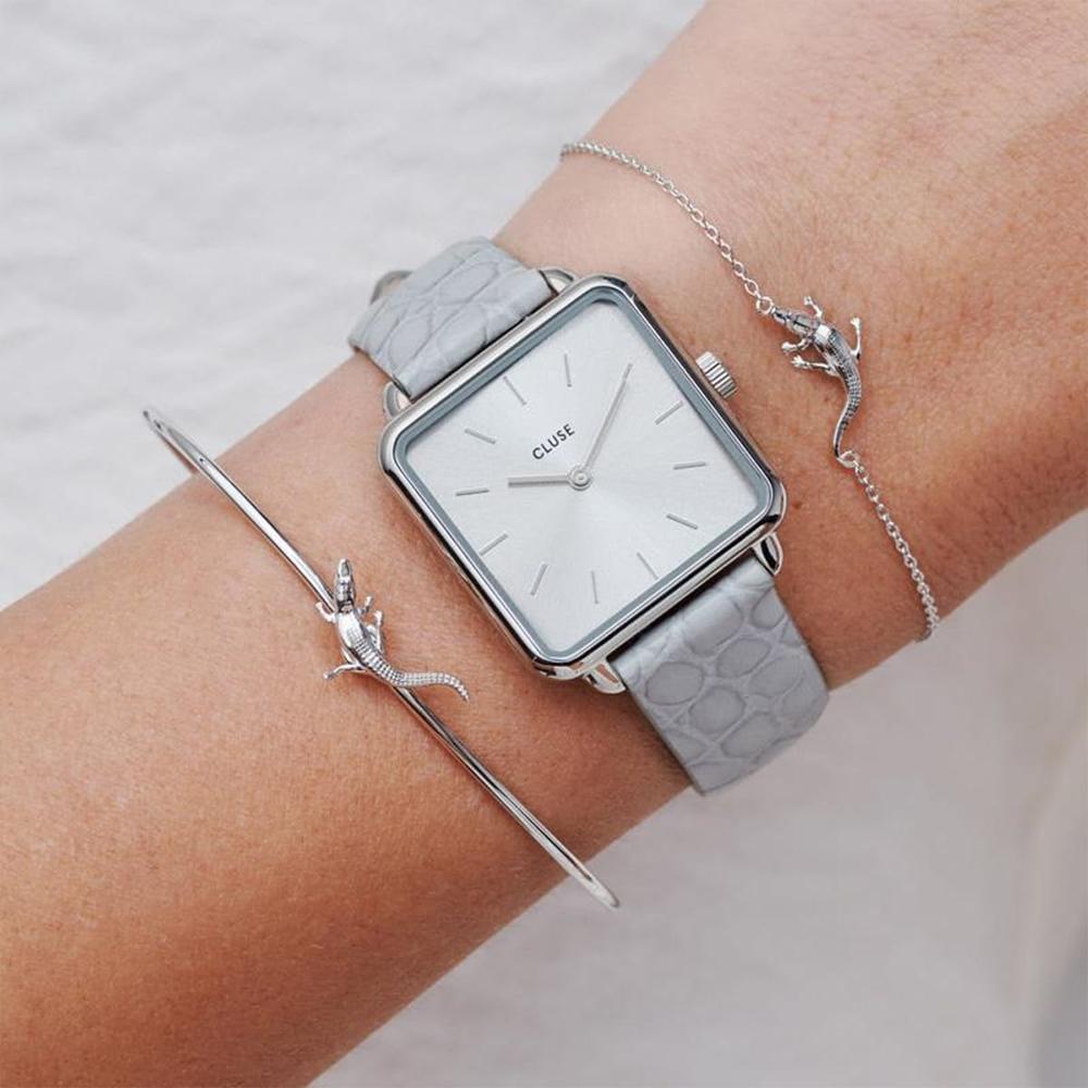 CLUSE La Tétragone腕錶/ 銀框淺灰底(加碼送耳機收納包)