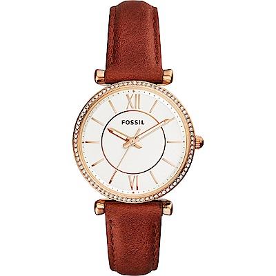 FOSSIL 羅馬風尚晶鑽仕女錶-銀x咖啡/36mm