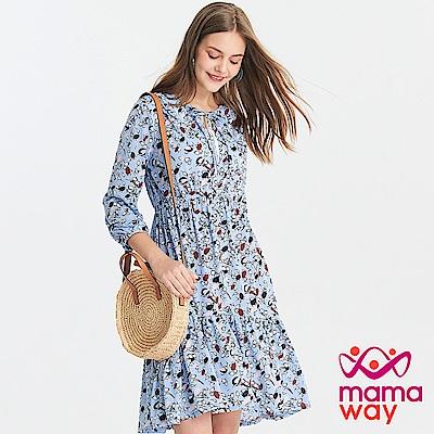 Mamaway  碎花荷葉裙孕哺洋裝(共2色)
