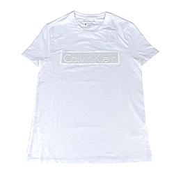 CK Calvin Klein 經典LOGO立體造型短袖T恤(白)