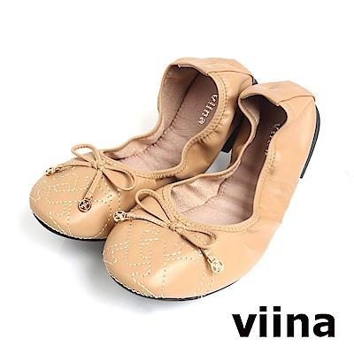 viina 可愛小logo蝴蝶結摺疊鞋MIT-米膚色