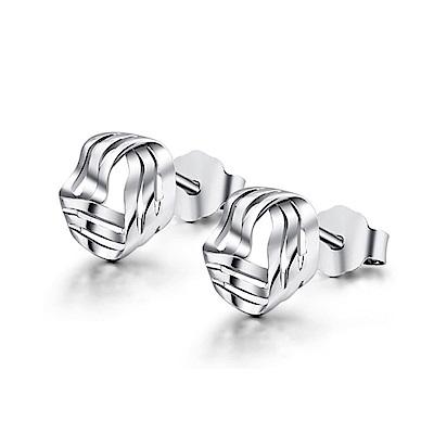 米蘭精品 925純銀耳環-幾何線條旋轉耳環
