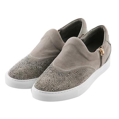 BESO耀眼弧度 燙鑽雙拉鏈休閒鞋~灰