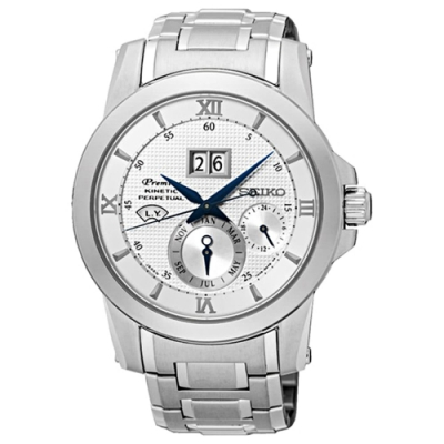 SEIKO精工 人動電能萬年曆腕錶-銀-41mm(7D48-0AR0S/SNP133J1)