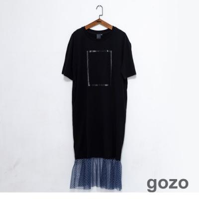 gozo 幾何框線印花網紗拼接洋裝(黑色)