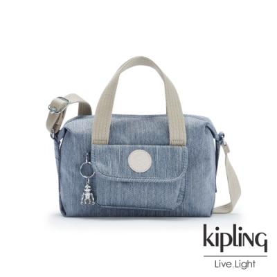 Kipling 淺色丹寧藍波士頓手提兩用包-BRYNNE
