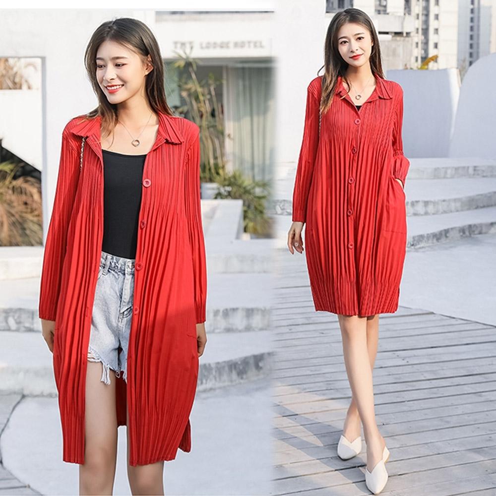 【KEITH-WILL】(預購)簡約舒適壓褶外套(共4色) (紅色)