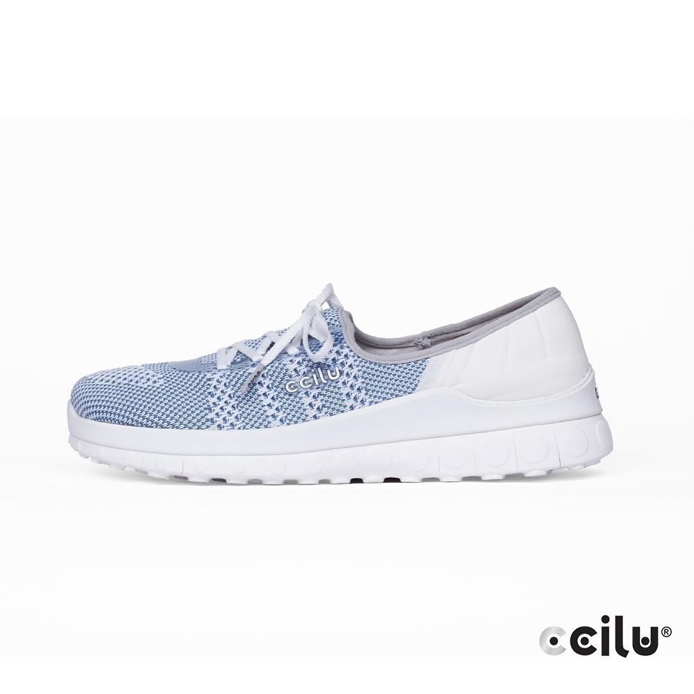 CCILU  飛織網布親膚綁帶休閒鞋-女款-302344008太空藍