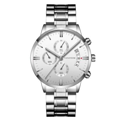 HANNAH MARTIN 都會型男裝飾三眼石英腕錶(HM-VA-G001-WS)
