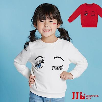 JJLKIDS 韓系眨眼睛造型長袖上衣(2色)
