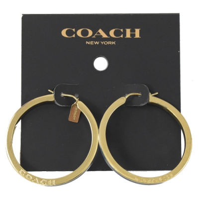 COACH 烙印LOGO大圈圈耳環(金色)