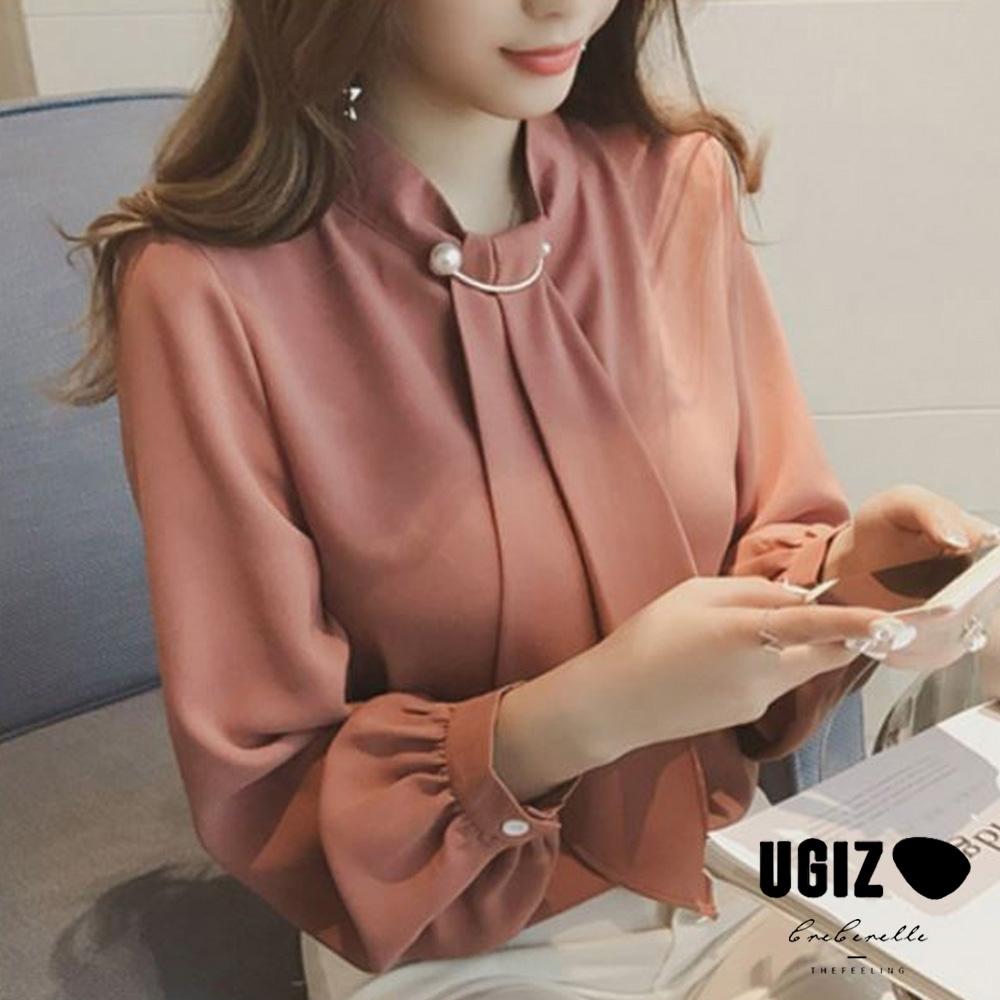 UGIZ-修身綁帶珠飾緞面素色造型上衣-4色(S-2XL)