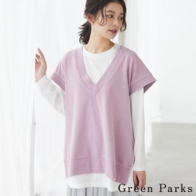 Green Parks 【SET ITEM】V領開叉休閒背心+白色素面長T