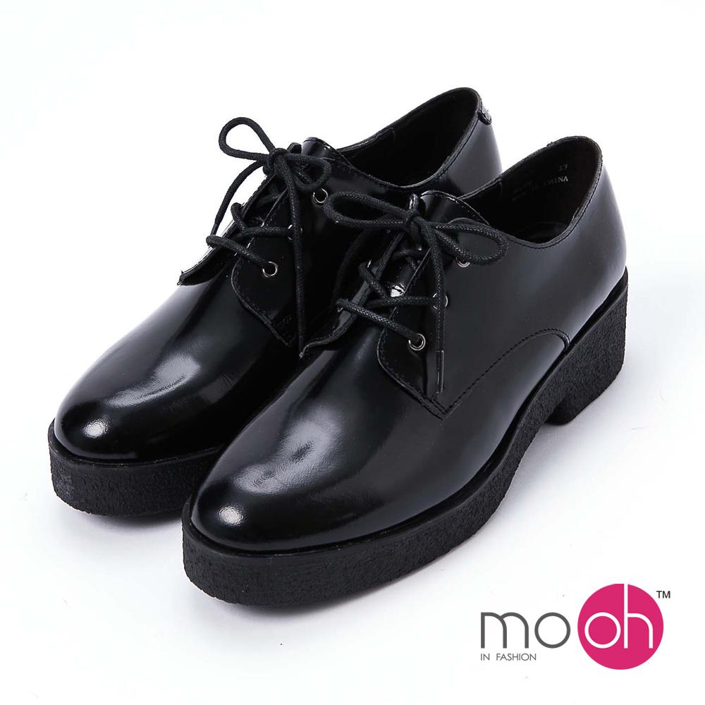 mo.oh 全真皮-復古圓頭厚底休閒皮鞋-黑色