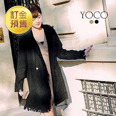 [訂金預售]東京著衣-yoco安琪聯名小香編織毛呢珍珠扣長版大衣外套(共二色)