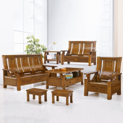 MUNA 5169型柚木色實木組椅(三人座)  191X77X102cm