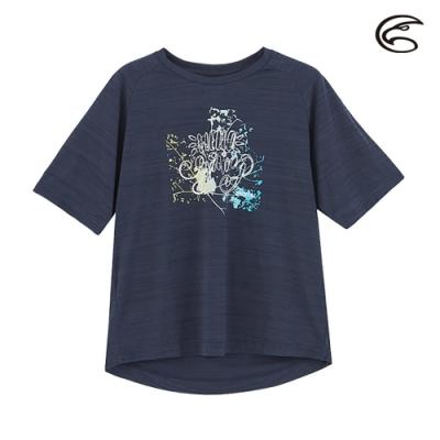 ADISI 女輕薄棉感圖騰圓領短袖排汗衣AL2011113 (S-2XL) 雙色青玉