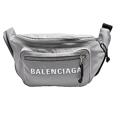 BALENCIAGA WHEEL系列品牌字母刺鏽防潑水尼龍布拉鍊腰包/斜背包(化石灰)