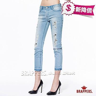 BRAPPERS 女款 新美腳Royal系列-女用中低腰彈性七分褲-淺藍