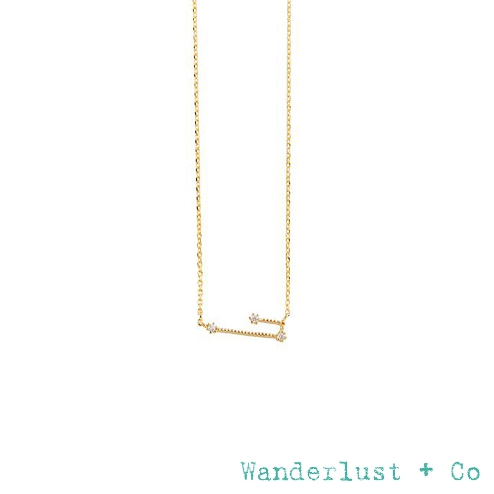 Wanderlust+Co 十二星座鍍14K金鋯石項鍊-金牛座